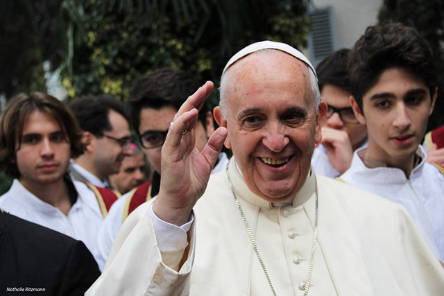 Turkey, Istanbul, 29.11.2014 Pope Francis on the forecourt of the Holy Spirit Cathedral Only this small file quality available